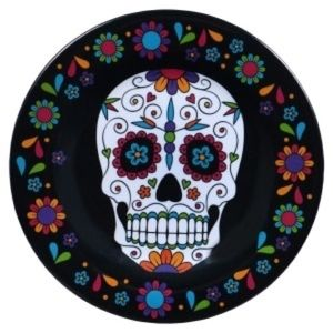 Set 4 Day of the Dead Melamine Side Plates